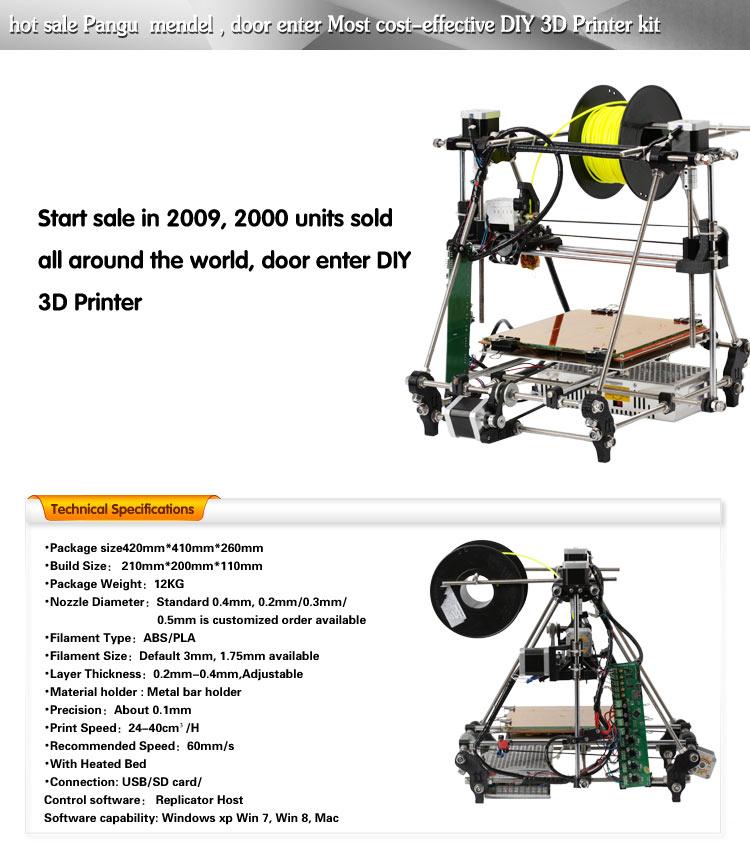 3D printer hot sale DIY kit Reprap Pangu Mendel Prusa